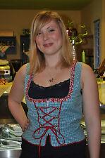 Bayrische Damen Trachtenbluse, Mieder Bluse Hemd, Blau Ärmellos Baumwolle