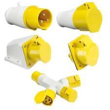 110V 16A 3Pin Yellow Industrial Plug & Sockets IP44 Weatherproof Male/Female