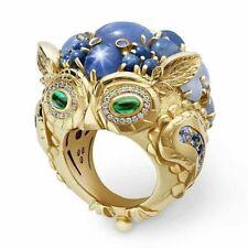 Vintage 10K Yellow Gold Filled Emerald Gemstone Owl Ring Women Men's Jewelry Hot