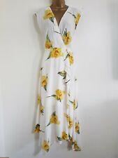 NEW WAREHOUSE 6-16 RP £70.00 Wrap Cowl Back White Ivory Yellow Floral Midi Dress