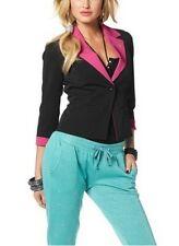 Melrose Blazer NEU Gr.32,34,36,38,40,42,44 Damen Stretch Kurz Jacke Schwarz/Pink