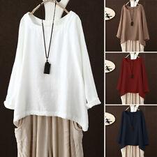 ZANZEA 8-24 Women Casual Plus Size Cotton Top Tee T Shirt Long Sleeve Blouse