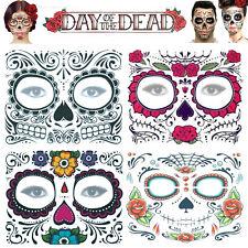 Day of the Dead Face Temporary Tattoo Transfer Mask Halloween Sugar Skull 4 Sets