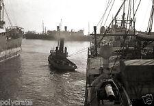 Marseille Remorquage du Hoggar bateau an. 1930 Photo ancienne repro retirage #2