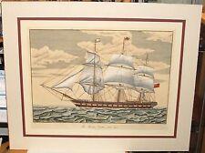 "V.CIONI ""THE WINDSOR CASTLE ""1250 TONS SAILING SHIP LARGE HAND COLOR ENGRAVING"