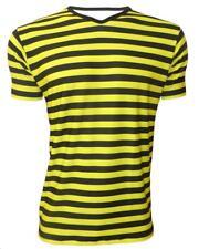 Men's Classic Bumble Bee Stripes Printed V Neck Top T-Shirt Tee Top Fancy Dress