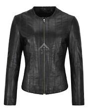Femmes Sans Col Veste en Cuir Véritable Noir Cuir Décontracté Fashion Jacket 1926