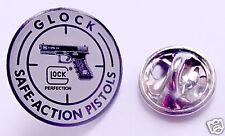 Glock pistol silver pin badge