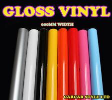 Gloss 0,6 m (23.6 in) x 3m (118in) Wrap Véhicule Feuille Vinyle autocollant de film toutes les couleurs