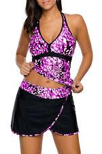 new purple spot 2 piece tankini skirt set size 8-22