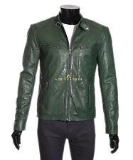 Men's Slim Fit Leather Jacket Green Designer Real Soft Lambskin Leather Jacket