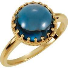 14k Yellow Gold London Blue Topaz Crown Ring
