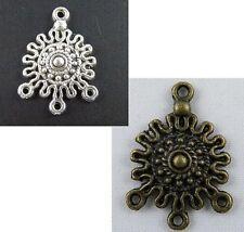 80pcs Tibetan Silver/Bronze Color 3-to-1 Flower Connectors 27x19x3.5mm 145