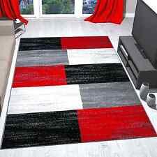 Teppich Rot Grau Schwarz Weiß Kariert Farbverlauf Kurzflor