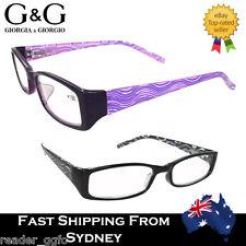 G&G Fashion Men Ladies Slim Reading Glass Black Purple 1.0 1.5 2.0 2.5 3.0 3.5