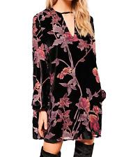 AU seller-Black vintage chic hippie floral velvet v neck long blouse mini dress