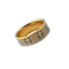 8mm Men's Tungsten Carbide Gold Tone Cross Wedding Ring