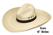 """GUS~Guatemalan Palm Leaf Straw ~COWBOY HAT-6"""" BRIM~ Western Gus Crease - Eyelets"""