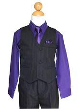 Pinstripe Boys Easter, Recital, Vest Suit Set, Purple/Black,Size: 2T to 14