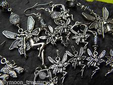Fairy Fae Pixie angel pendant crackle & lampwork glass onyx amethyst goth wicca