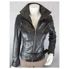 Ladies Brown Napa Leather Slim Tight Fitted Short Biker Rock Bike Jacket