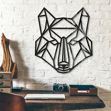 Origami Wolf WANDDEKO naturbelassen Ornamente Dekoelemente Holzkunst Mahagoni