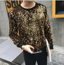Korean Mens Sequins Glitter Hoodie Blazer Gold Bar Dress Jackets Coats Casual US
