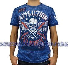 AFFLICTION Burning Rubber A9191 New Men`s T-Shirt Navy