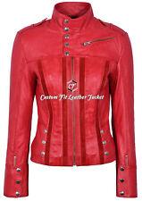 Ladies 4520 red Slim Fit Suede Sheep Biker Napa Genuine soft Leather Jacket