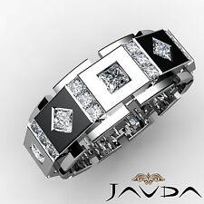 Princess Diamond Ring Mens Solid Box Eternity Unique Wedding Band Platinum 3Ct