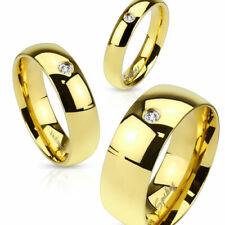 Herren Damen Ring Ehering Partnerring Verlobungsring Gold IP Edelstahl Kristall