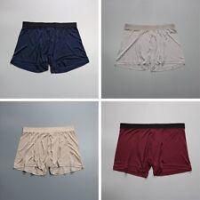 Men Silk Boxer Briefs Shorts Pants Elasticated Waist Band Underwear Plain Trunks
