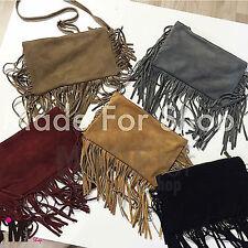 BORSA DONNA borsetta a spalla con frange bag eco nappa scamosciata hippy 00360