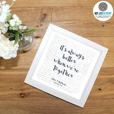Jack Johnson BETTER TOGETHER - Favourite Lyrics framed print - Wedding Gift