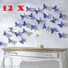 12 tlg Schmetterling Set Schmetterlinge Wanddeko lila Wanddeko Deko NEU