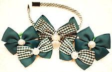 BACK TO SCHOOL Handmade children girl ribbon bow hair clips bobbles headband