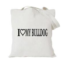 I Love My Bull Dog Funny Tote Bag For Life Shopper Shopping Reusable