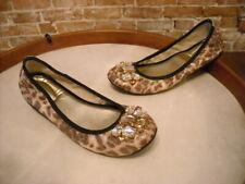 Marc Fisher Natural Leopard Jeweled Cadassi Ballet Flats NEW