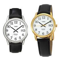 Timex Mens Easy Reader Watch, Quartz, 35mm Silver/Gold Case, Black Leather Strap