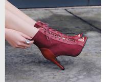 edf9bd3bc Новое объявлениеЖенские новые модные с высоким верхом открытые туфли с  открытым носком лодыжки ботинки на шнуровке высокие каблуки повседневный
