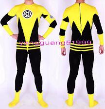 Unisex Super Hero Suit Outfit Yellow/Black Lycra Superhero Catsuit Costumes F136