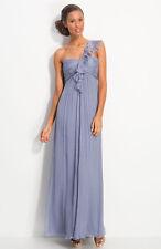 NWOT iris slate  Amsale Ruffled Chiffon One Shoulder Gown size 8