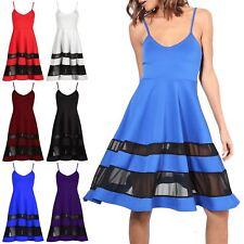 Womens Skater Dress Ladies Mesh Insert Sleeveless Strappy Swing Flare Midi Dress
