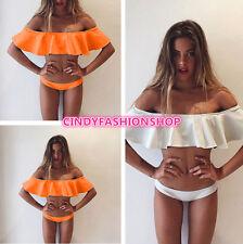 Woman Sexy Off Shoulder Ruffles brazilian Bikini Set Push up  Swimwear Bathing