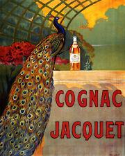 POSTER BLUE PEACOCK COGNAC JACQUET DRINK FRENCH LIQUOR VINTAGE REPRO FREE S/H