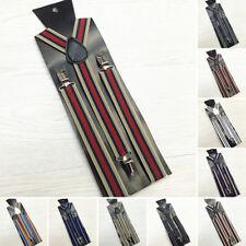 Adjustable Slim Trouser Suspenders Braces Clip On Fancy Dress Ladies Men Stripes