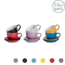 12pc Coloured Cappuccino Cup Saucer Set Porcelain Tea Coffee Cups 250ml