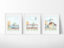 Boys Nursery Wall Decor Prints, 3 Print Set, Trains, Aeroplanes