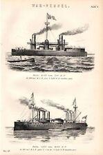 1880 PRINT ~ WAR SHIPS DUILIO ITALIA BLR GUNS ETC