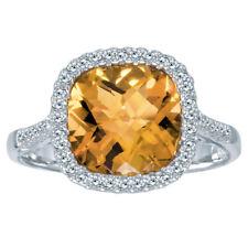 14k White Gold Cushion Citrine and Diamond Ring